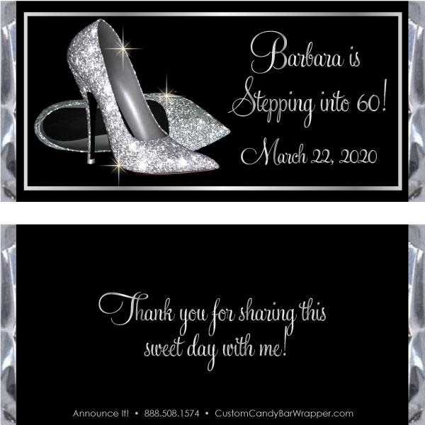 Silver Glitter Shoes Birthday Candy Bar Wrappers