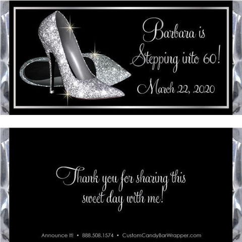 Silver Shoes Birthday Candy Bar Wrappers