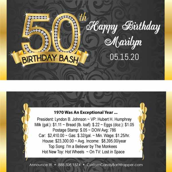 Diamond 50th Birthday Candy Bar Wrapper