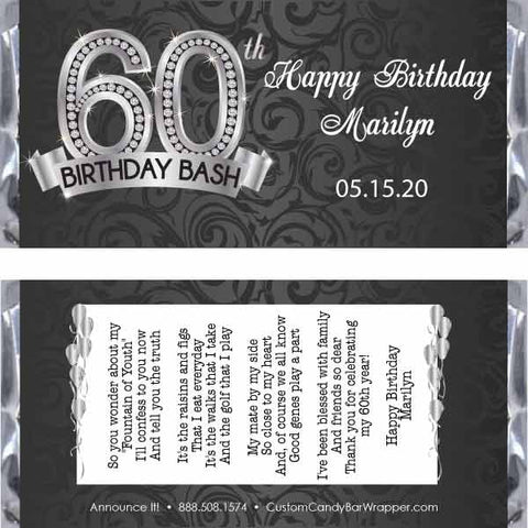 Diamond 60th Birthday Candy Bar Wrappers