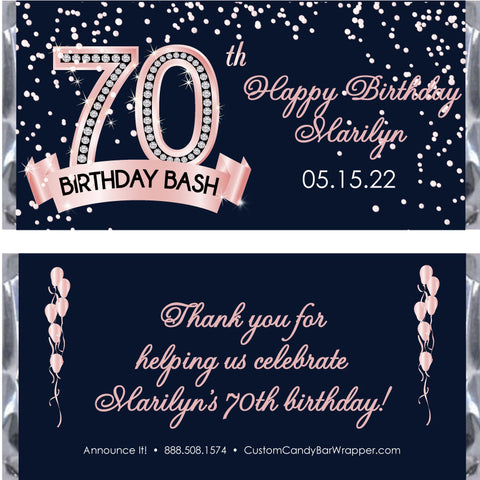 Diamond 70th Birthday Candy Bar Wrapper
