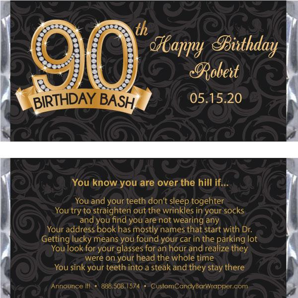 Diamond 90th Birthday Candy Bar Wrapper