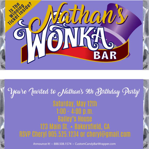 Willy Wonka Birthday Candy Bar Wrappers