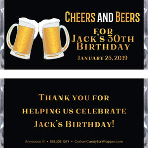 Cheers & Beers Birthday Candy Bar Wrappers