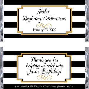 Black White Stripes Birthday Candy Bar Wrapper