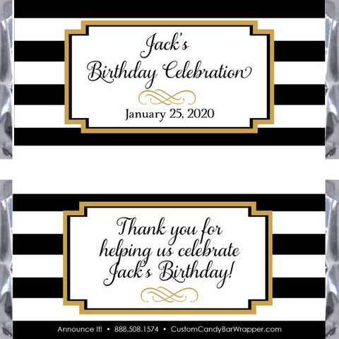 Black and White Stripes Birthday Candy Bar Wrapper