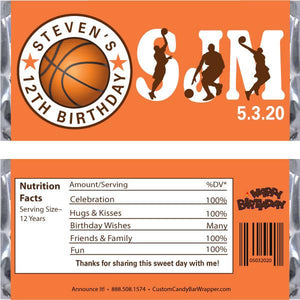 Basketball Birthday Candy Bar Wrappers