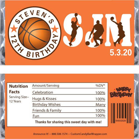 Basketball Birthday Candy Wrapper