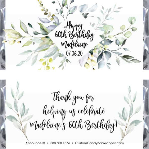 Greenery Birthday Candy Bar Wrappers