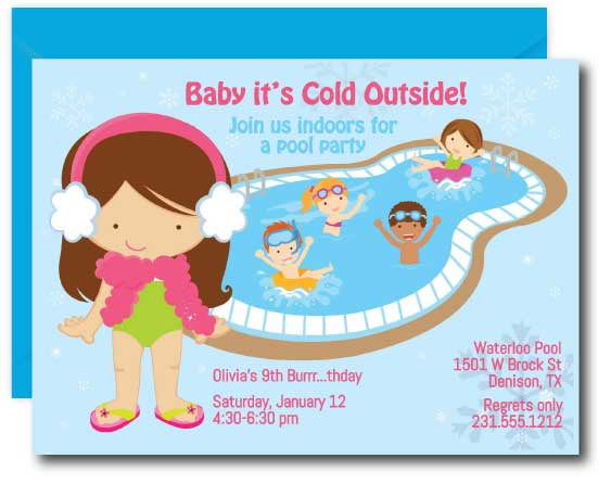 Girls Indoor Pool Party Birthday Invitation
