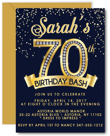 Diamond 70th Birthday Invitation
