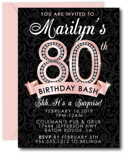 Diamond 80th Birthday Invitation - Rose Gold