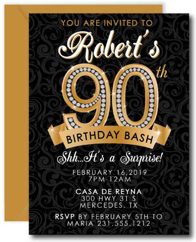 Diamond 90th Birthday Invitation
