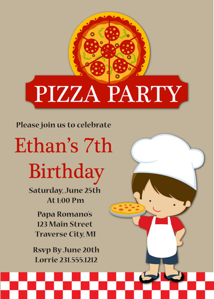 Boys Pizza Party Birthday Invitation