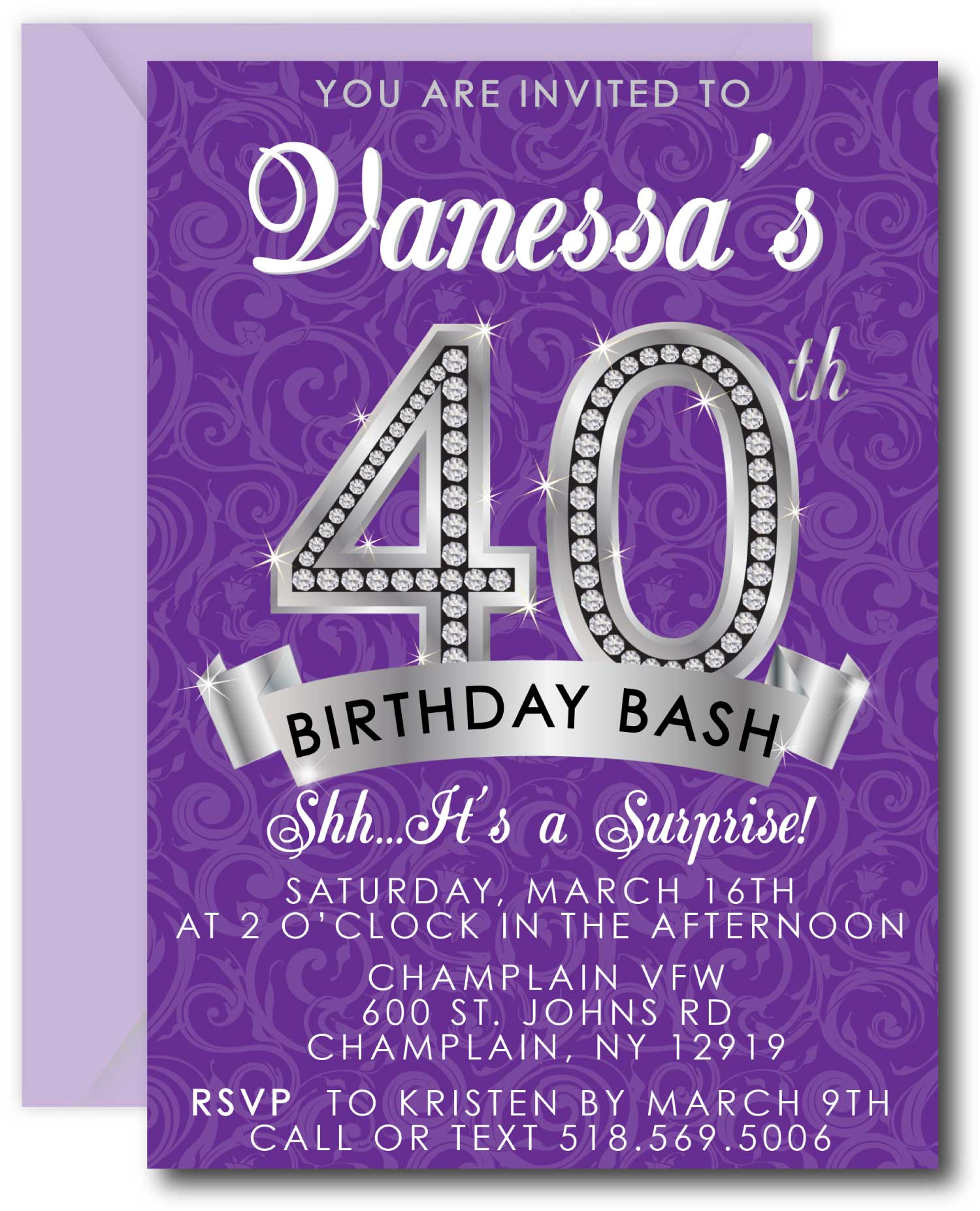 Diamond 40th Birthday Invitation Announce It