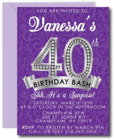 Diamond 40th Birthday Invitations