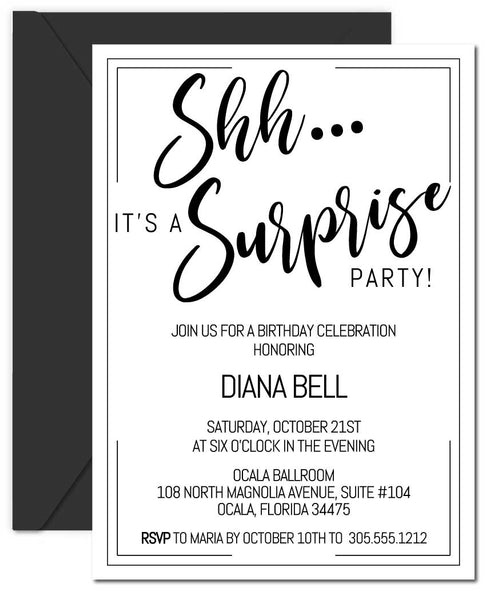 Black and White Surprise Birthday Invitations