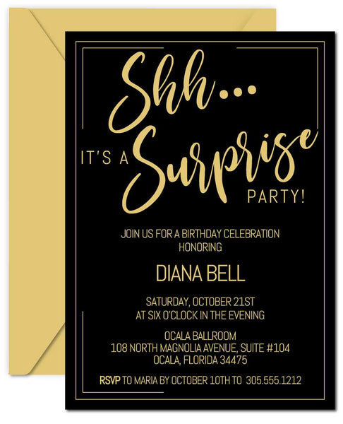Black and Gold Surprise Birthday Invitations