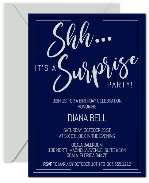 Navy and Silver Surprise Birthday Invitations