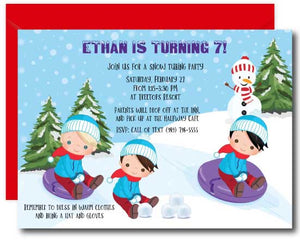 Boys Snow Tubing Invitation