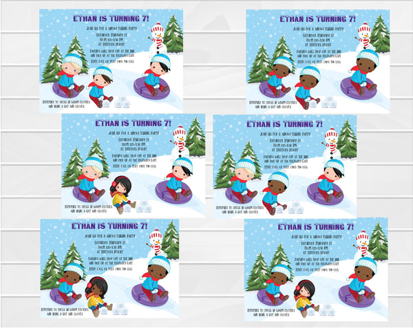 Boys Snow Tubing Invitation - Hair and Skin Tones