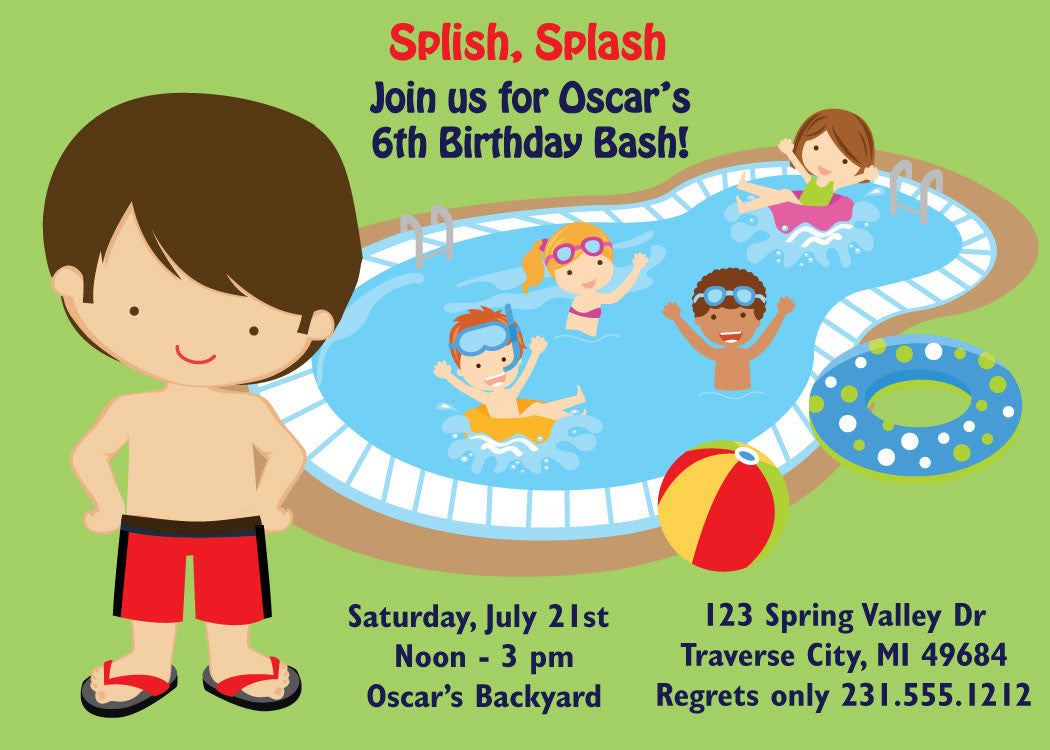 Boys Pool Party Invitations