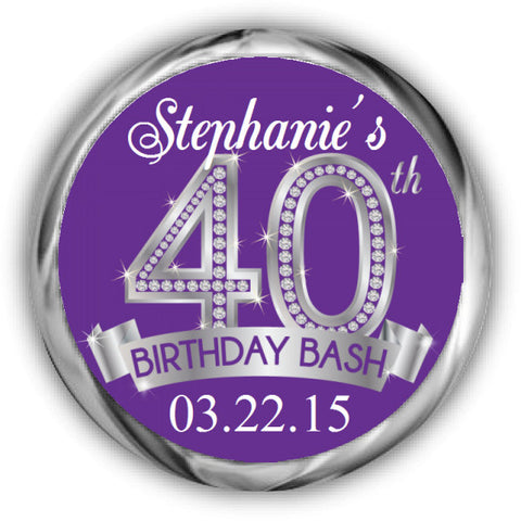 Diamond 40th Birthday Kisses Stickers