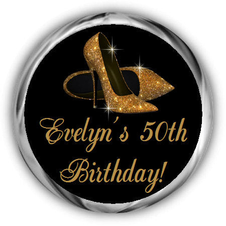 Gold Shoes Birthday Kisses Stickers