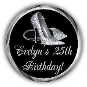 Silver Shoes Birthday Kisses Stickers
