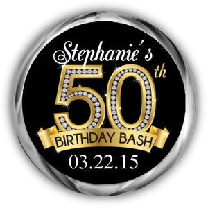 Diamond 50th Birthday Kisses Stickers