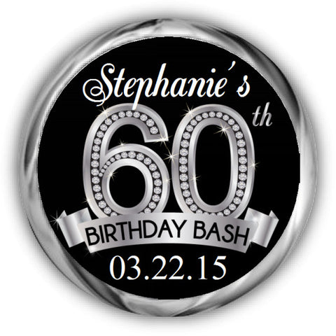 Diamond 60th Birthday Kisses Stickers