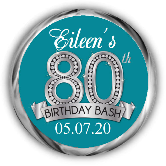 Diamond 80th Birthday Kisses Sticker