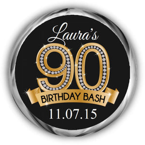 Diamond 90th Birthday Kisses Sticker