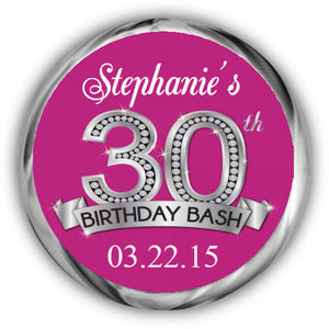 Diamond 30th Birthday Kisses Sticker