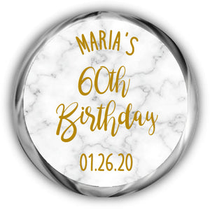 Marble Birthday Hershey Kisses Stickers