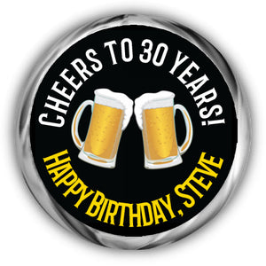 Cheers and Beers Birthday Kisses Stickers