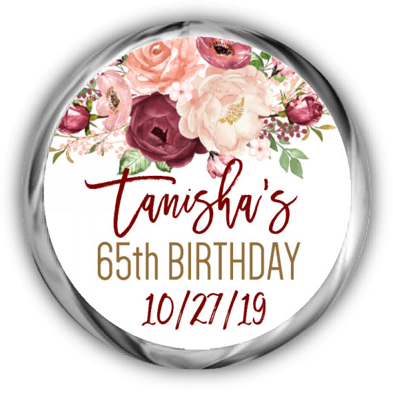 Marsala Birthday Kisses Stickers