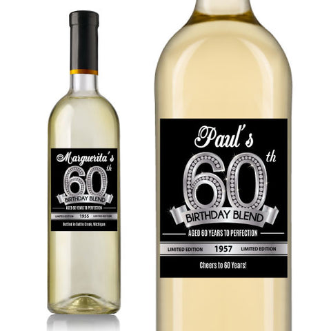 Diamond 60th Birthday Wine Label