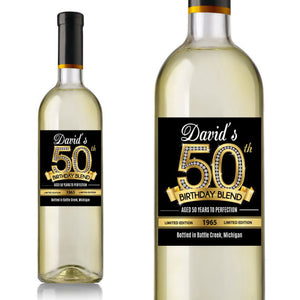 Diamond 50th Birthday Wine Label