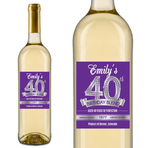 Diamond 40th Birthday Wine Label