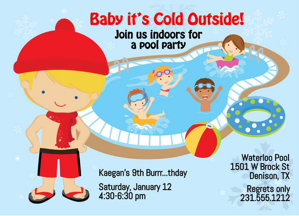Boys Indoor Pool Party Birthday Invitation - Blonde
