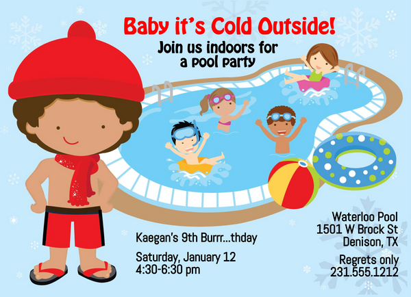 Boys Indoor Pool Party Birthday Invitation - Darker