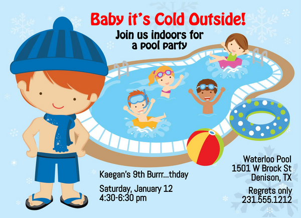 Boys Indoor Pool Party Birthday Invitation - Red Hair