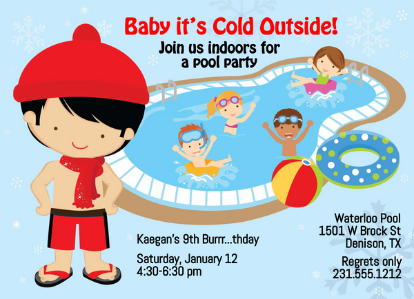Boys Indoor Pool Party Birthday Invitation - Black Hair