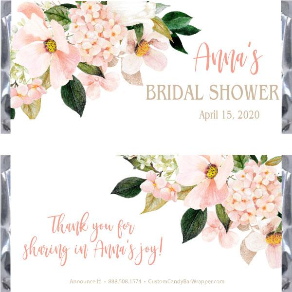 Hydrangea Bridal Shower Candy Bar Wrappers