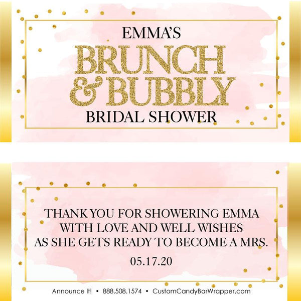 Brunch and Bubbly Bridal Shower Candy Bar Wrappers