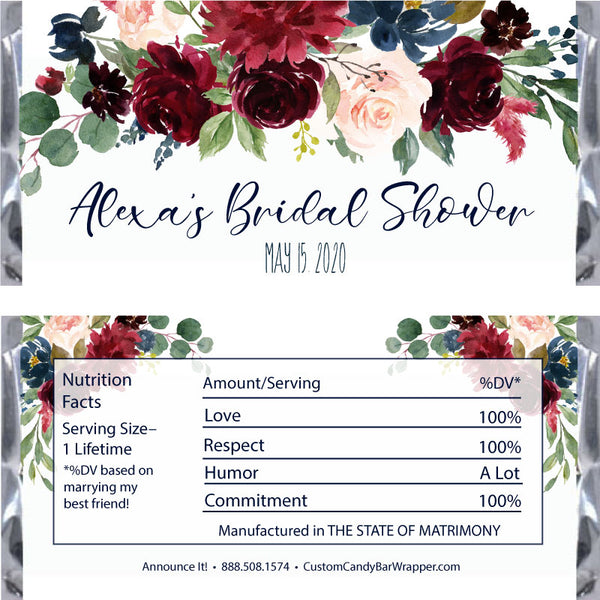 Marsala Bridal Shower Candy Bar Wrappers