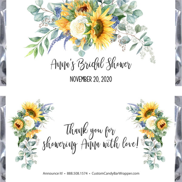 Sunflower Bridal Shower Candy Bar Wrappers