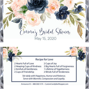 Navy Blush Bridal Shower Candy Bar Wrappers