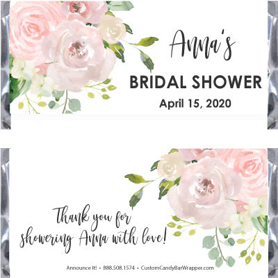 Blush Bridal Shower Candy Bar Wrappers